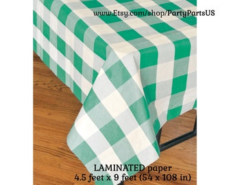 green gingham table cover, green plaid tablecloth, picnic supplies, paper tableware, graduation, school colors, Fathers Day, barbecue, party