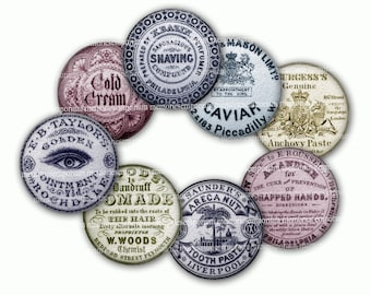 Antique Pot Lids Victorian Apothecary Jar Tops 1.5 inch Circles Digital Printable Download DIY Clipart for Knobs Buttons Magnets Jewelry 591