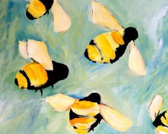Happy Bees painting digital download of original oil painting - kids room nursery decor bee art bumblebee