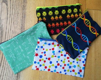 Mini zip pouch for maths, science, gamers- multiple fabrics available!