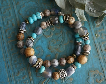 """Set of 2 Bohemian """"Turquoise Bay"""" Stack Bracelets, Boho Earthy Nature Beach Rustic Gypsy Indie Crystal Stretch Hippie Bracelets ByLEXY"""