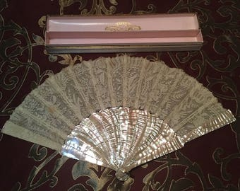 Glorious Point de Gaze Lace and Mother of Pearl Hand Fan