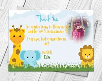 Personalised Farm Animal Party Thank You Cards | Jungle Zoo Childrens Birthday Party Thank You Cards