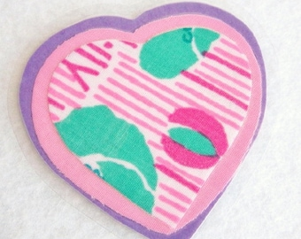 Purple Heart Pin, Fabric Heart Pin, Sweetheart Pin, Floral Heart Brooch, Pink Heart Brooch