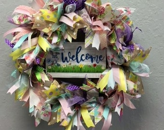 Welcome Spring Burlap Holiday Wreath with Sparkle. Super Cute & Whimsical