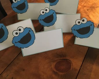 12 Sesame Street Cookie Monster or Elmo Place Food Tent Cards