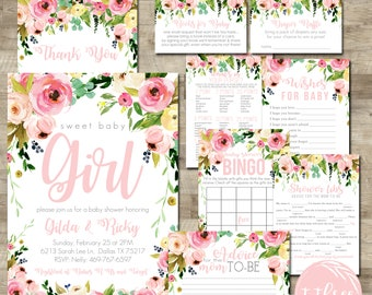 Watercolor Flower Baby Shower Package, Girl Baby Shower Invitation Package,  Girl Baby Shower Invite