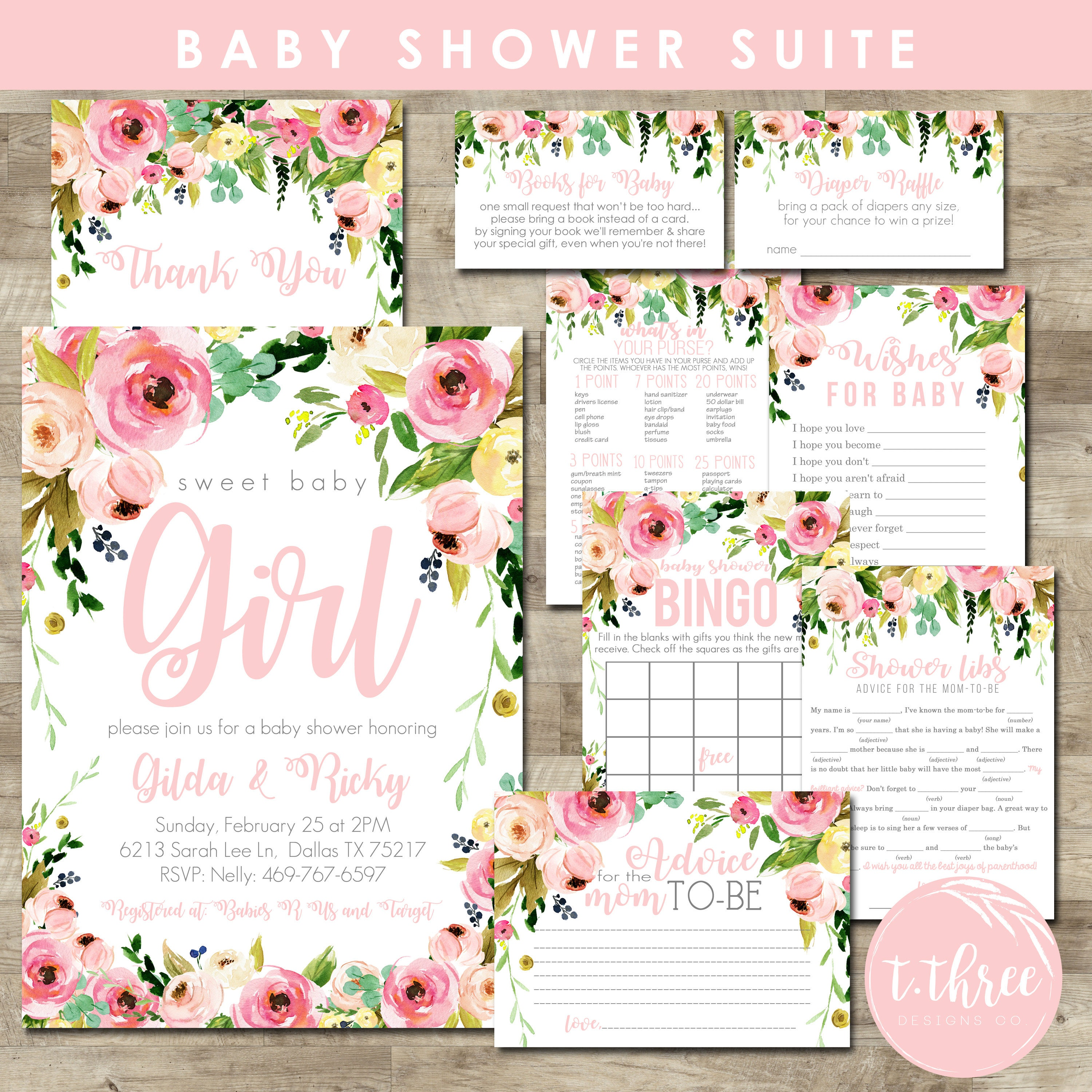 Watercolor flower baby shower package girl baby shower invitation watercolor flower baby shower package girl baby shower invitation package girl baby shower invite blush pink floral invite filmwisefo Choice Image