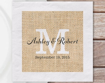 Napkins | Custom Paper Luncheon Napkins W/ Rustic Burlap Print And Monogram W/ Couples Names & Wedding Date | Quantity Discounts