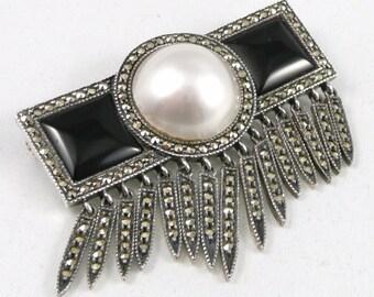Sterling Silver Marcasite Brooch, Judith Jack Sterling Marcasite Onyx Faux Pearl Brooch Pin, Art Deco Style Brooch