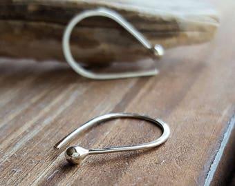 Teardrop Hoops, Argentium Silver Earrings, Slip in Hoops, Simple Earrings, Everyday Earrings, Arc Ball Hoops, 20g