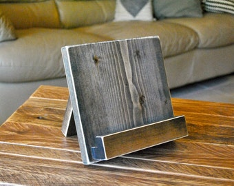 Wood Tablet Stand - iPad stand - Cookbook stand - for the Kitchen or Office - Lightly distressed wood - 3 SIZES