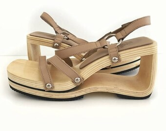 Vintage 90's Strappy Cut Out Square Toe Wedges 7