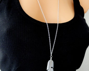 Silver feather necklace, Silver boho necklace, Long silver feather necklace, Long silver necklace, Bohemian necklace, Gifts