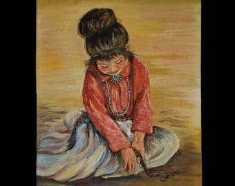 NATIVE AMERICAN GIRL painting by Christl Hansen, vintage original of child from Southwest pueblo (Navajo or Hopi), 1960s mid century art