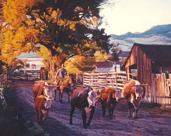 Early Morning Chauffeur, Limited Edition Western Fine Art Print by Wayne Justus