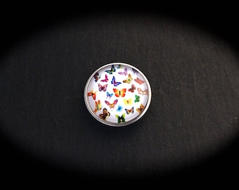 Cabochon 18mm for jewelry - multicolored butterflies fancy pressure