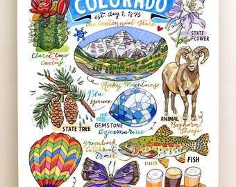 Colorado Print, State Symbols, Rocky Mountains, the Centennial State.