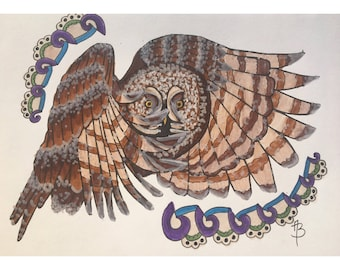 Owl in Flight Print