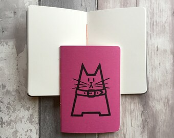 DISCONTINUED Gift for Cat Lover - Cat notebook pink - Small blank journal in hot pink featuring Dave the cat - A6 fuschia notepad