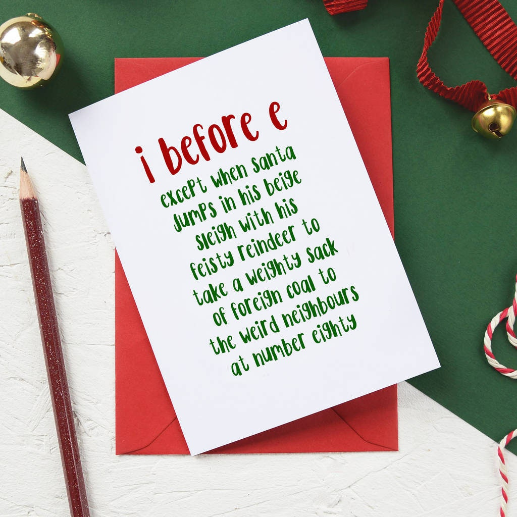 Funny christmas card i before e grammar police holiday description great christmas card for grammar fiends and teachers kristyandbryce Image collections