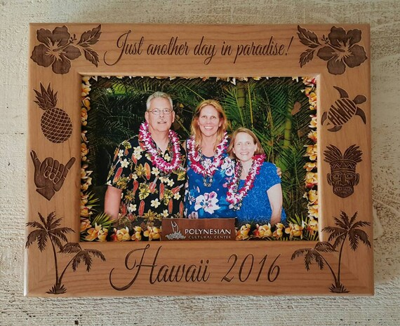 Hawaii Picture Frame 5x7 Vacation Custom Laser Engraved Frame from ...
