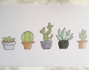 Succulent Art Print (A5)