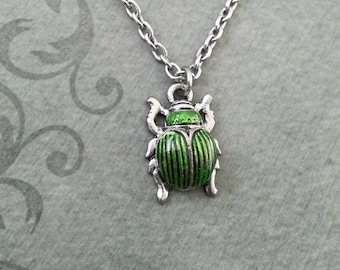 Scarab Necklace VERY SMALL Scarab Jewelry Egyptian Necklace Egyptian Jewelry Beetle Necklace Silver Necklace Ankh Charm Green Scarab Beetle