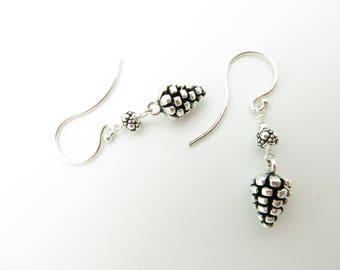 Handmade Pine Cone Sterling Silver Earrings