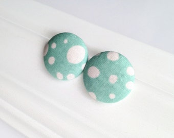 Light turquoise polka dot studs - Giant button earrings - Bubble earrings - Fabric covered button - Mademoiselle Bouton Made in Quebec