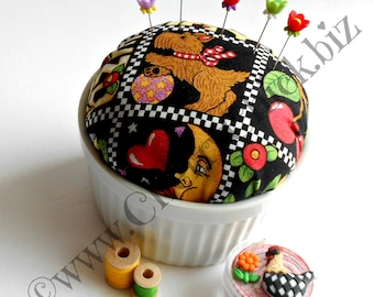 Scottie Dog - Mary Engelbreit fabric Pincushion - Decorative Sewing Pins - Pin Keep – Gift for Seamstress - Scotty Dog - Gift for Quilter
