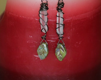 Bronze wire wrapped crystal dangles