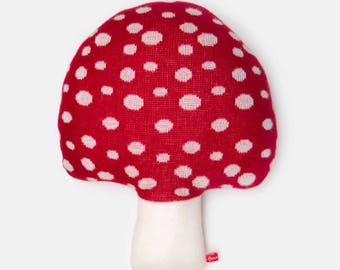 Lambswool Red Mushroom Toadstool Knitted Cushion - Made to order