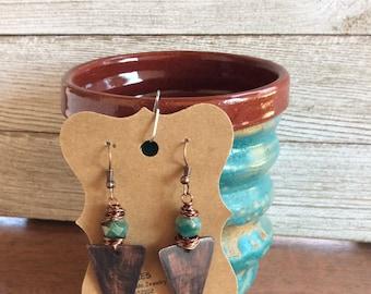 Copper Triangle Earrings, Patina Copper Earrings