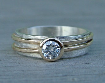 Moissanite Engagement or Wedding Ring with Recycled 14k Yellow Gold and Recycled Sterling Silver, Made to Order