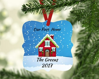 Personalized Christmas Ornament, Wedding Ornament, Couples Ornament, Our First Home Ornament, Housewarming Gift