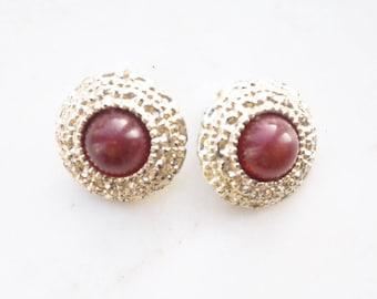 Vintage red stone set clip on earrings