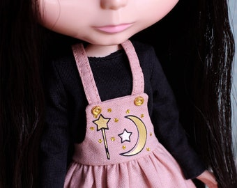 Golden magic - Overall dress sets with sweater and star head band for Blythe doll - by Icantdance