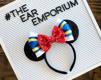 Donald Duck Inspired Mouse Ears Headband ~ Blue, Yellow and Red