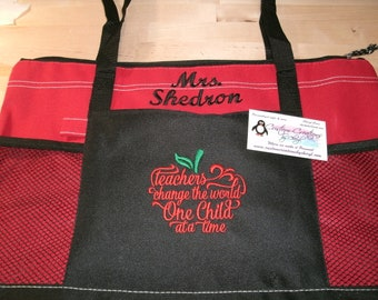 Teachers Are Changing the World one Child at a Time Personalized Personalized Tote Bag Personalized Tote bag ... Great Teacher Gift Idea !!