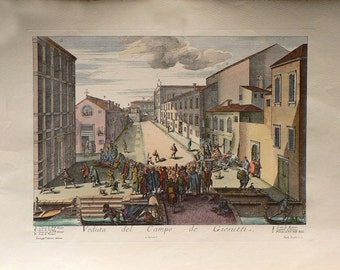 City - Venezia/Italy  - Campo dei Gesuiti - Cm. 70 x 50 Inches 27,6 x 19,7 - High quality paper and water-coloured by hand. Since 1940s