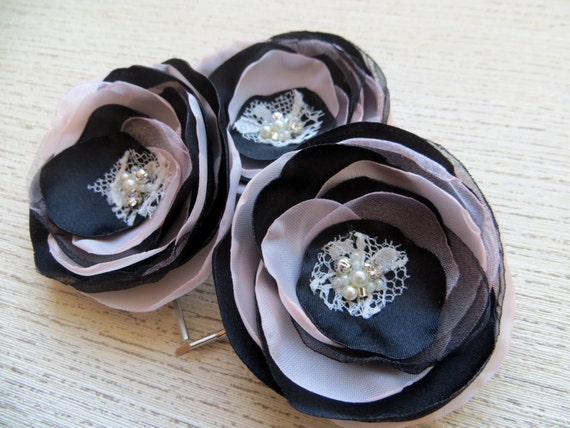 Blush Pink Hair Flower Or Brooch Bridal Wedding: Black Blush Pink Wedding Hair Flowers Set Of 3 Bridal