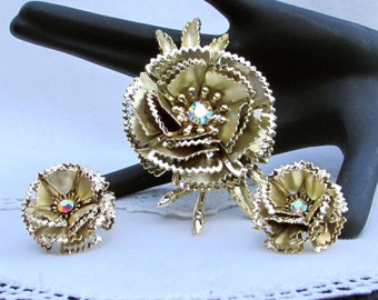 Vintage Brooch and Earring Set, Gold Toned and Aurora Borealis Floral Earring and Brooch Set