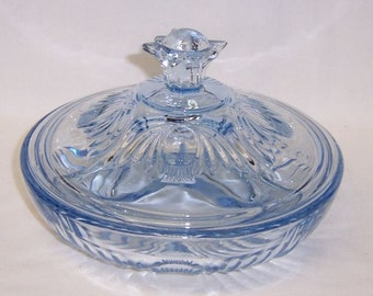 Paden City Copen Blue LARGO Number 220 Three Part Low Candy Dish with Lid