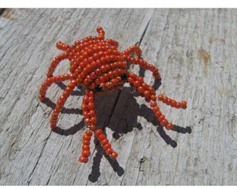Miniature crab seed beads and copper wire