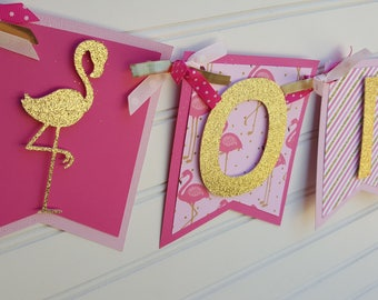 Pink and Gold Flamingo Happy Birthday Banner. Let's Flamingle Banner. Pineapple Banner. Flamingo Party Decorations. Happy Birthday Banner
