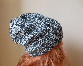 Hand Knit Slouchy Beanie Hat Acrylic Black and White blend