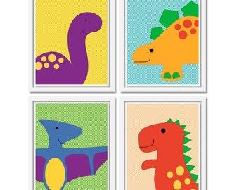 Dinosaur Art Prints. Set of four 8x10 Printable Nursery Art PDF. Baby Wall decor. Includes lion, elephant, zebra and giraffe.