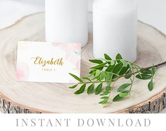 Printable Place Cards INSTANT DOWNLOAD, Wedding Name Cards, DIY Printable Decorations, Templett, Editable pdf, Tent, Pink, Blush, Peachy