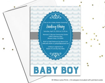 Printable baby shower invite for boys baby shower - blue and gray - unique baby shower invitation - printable or printed - WLP00780